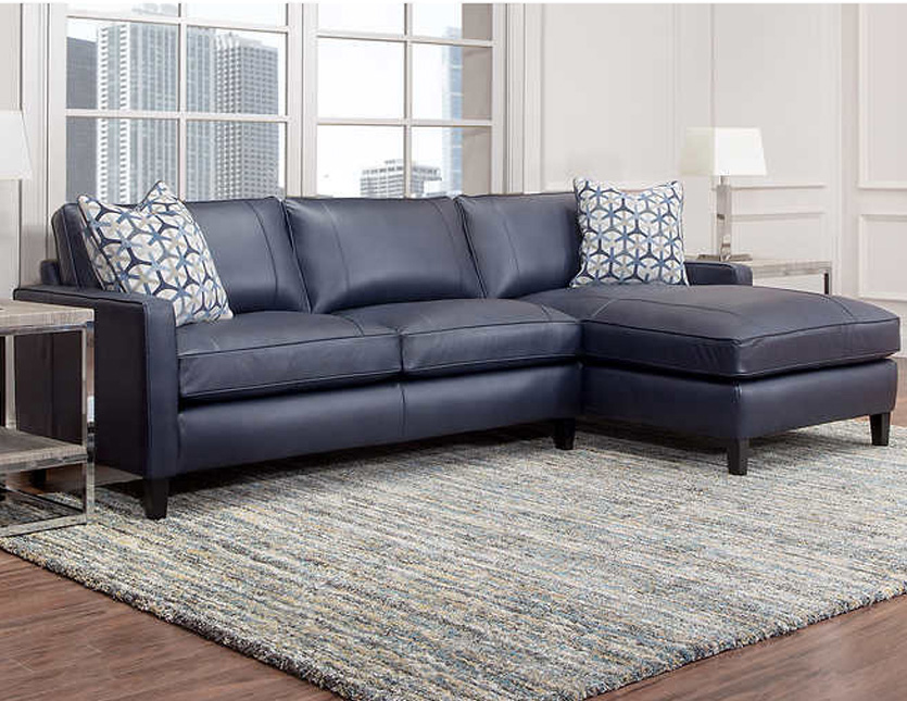 griffith top grain leather sectional navy blue. Black Bedroom Furniture Sets. Home Design Ideas